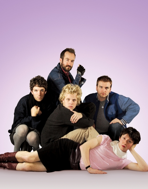 (From left to right Matthew Kennedy, Adam Brooks, Conor Sweeney, Jeremy Gillespie and Steven Kostanski)