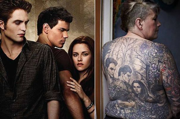 Twilight drunk in a graveyard for Twilight movie tattoo